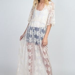 LONG LACE COVER UP DRESS